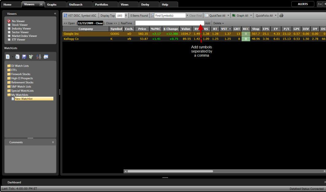 Adding Stocks to a WatchList