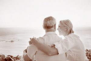 Retired Couple relaxing-Sepia Tone image