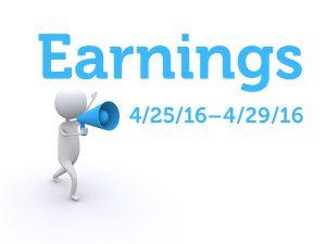 Earnings for Apr 25 - Apr 29, 2016